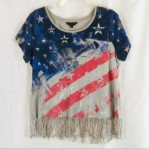 ROCK & REPUBLIC Fringe T-shirt USA Flag XL